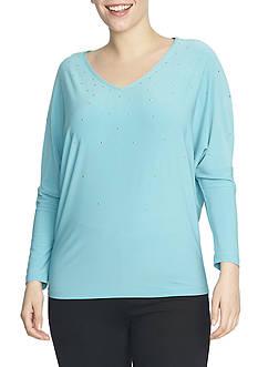 CHAUS Long Sleeve Embellished V-Neck Top