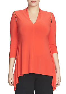 CHAUS Three-Quarter Sleeve Solid Top