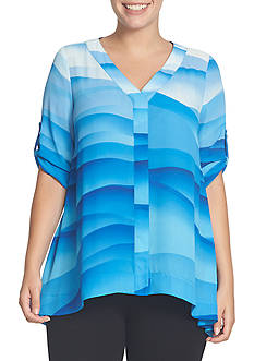 CHAUS Roll Tab Sleeve Print Blouse