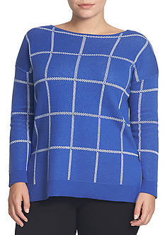 CHAUS Windowpane Sweater