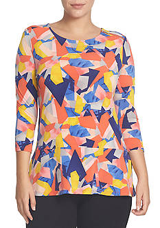 CHAUS Three Quarter Sleeve Print Top