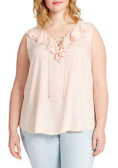 Jessica Simpson Plus Size Jade Ruffle Lace Up Blouse