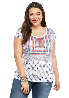 Jessica Simpson Plus Size Lavi Split Back Tee