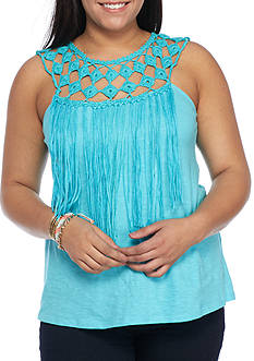 Jessica Simpson Plus Size Tae Fringe Top