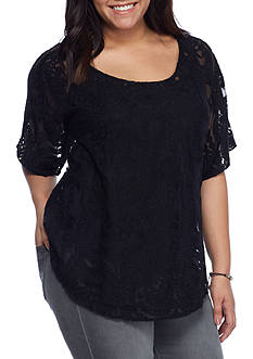 Jessica Simpson Plus Gwen Embroidered Lace Mesh Top
