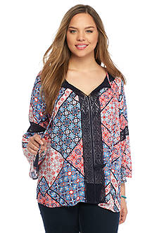 Jessica Simpson Plus Size Alaya Printed Peasant Top