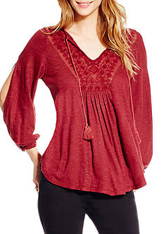 Jessica Simpson Frida Tie Front Peasant Top