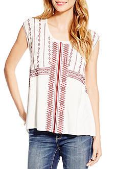 Jessica Simpson Zoe Sleeveless Overlay Knit Top