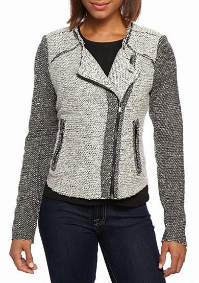Product Features Moto-inspired jacket featuring knit front with asymmetric zips Shop Best Sellers· Deals of the Day· Fast Shipping· Read Ratings & Reviews.