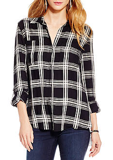 Jessica Simpson Dion Plaid Ruched Back Shirt
