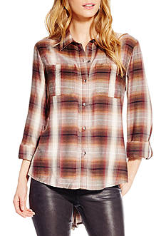 Jessica Simpson Dion Plaid Button Down Shirt