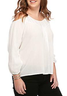 Jessica Simpson Plus Size Cold Shoulder Woven Peasant Top