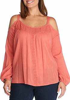 Jessica Simpson Plus Size Cold Shoulder Woven Peasant Top