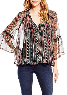 Jessica Simpson Plus Size Skip Linear Peasant Top