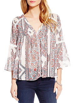 Jessica Simpson Plus Size Three-Quarter Sleeve Skip Peasant Top