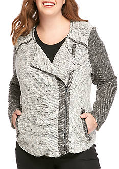 Jessica Simpson Plus Size Elora Bonded Side Moto Jacket