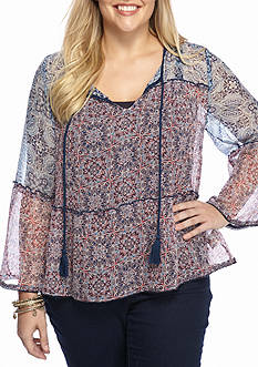 Jessica Simpson Plus Size Peasant Embroidered Top