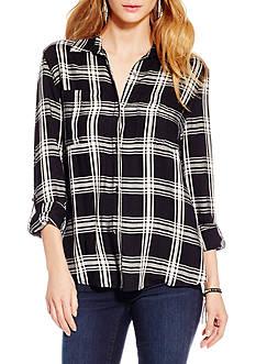Jessica Simpson Plus Size Dion Shirt Tail Roll Sleeve Plaid Shirt