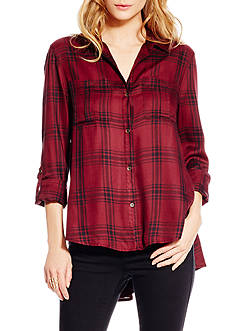 Jessica Simpson Plus Size Dion Shirt Tail Roll Sleeve Plaid Shirt