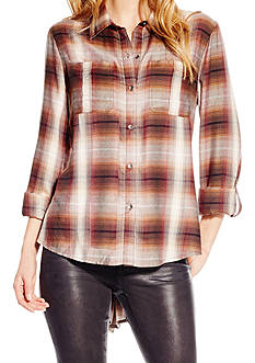 Jessica Simpson Plus Size Roll Sleeve Plaid Top