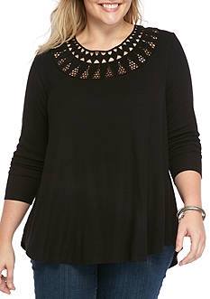 Jessica Simpson Plus Sized Long Sleeved Ribbed Top