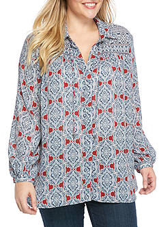Jessica Simpson Button Down Peasant Shirt