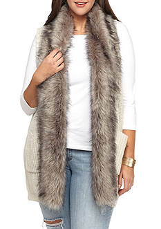 Jessica Simpson Plus Size Powder Faux Fur Collar Sweater Vest