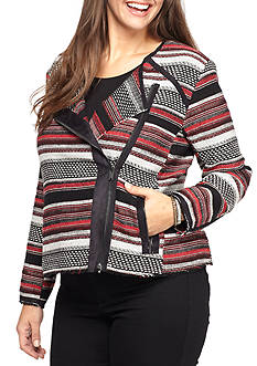 Jessica Simpson Plus Size Elora Stripe Jacquard Motto Jacket