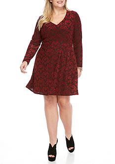 Jessica Simpson Plus Size Long Sleeve V-Neck Skater Dress