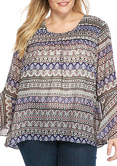 Jessica Simpson Plus Size Bell Sleeved Boho Blouse