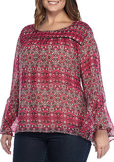 Jessica Simpson Plus Size Wilma Bell Sleeved Blouse