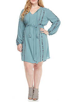 Jessica Simpson Plus Size Smoke Blue Long Sleeve Dress