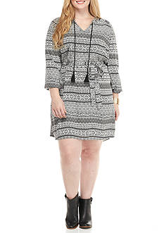 Jessica Simpson Plus Size Printed Long Sleeve Dress