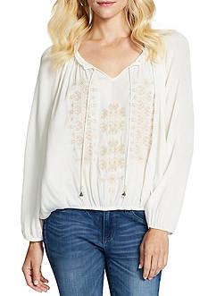 Jessica Simpson Elizabella Embroidered Peasant Top