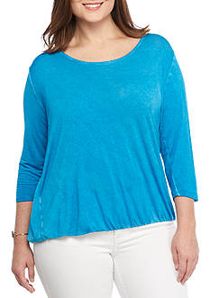 Jessica Simpson Plus Size 3/4 Sleeve Scoop Neck Top