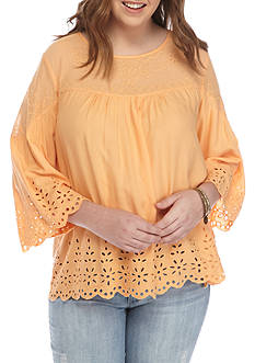 Jessica Simpson Plus Size Top With Eyelet Detail