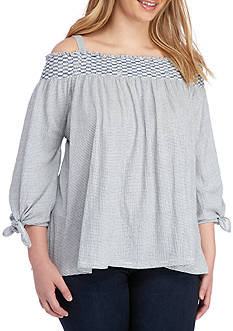 Jessica Simpson Plus Size Marlena Off-The-Shoulder Top