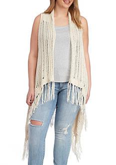 Jessica Simpson Plus Size Hera Fringe Sweater Vest
