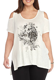 Jessica Simpson Plus Size Lorani Cold Shoulder Graphic Tee