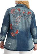 Jessica Simpson Plus Size Printed Denim Jacket