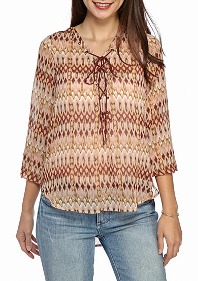 Jessica Simpson Morgan Lace-Up Nature Blouse
