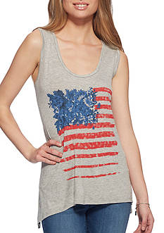 Jessica Simpson Jara Flag Graphic Tank