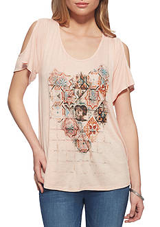 Jessica Simpson Ummi Cold Shoulder Graphic Tee