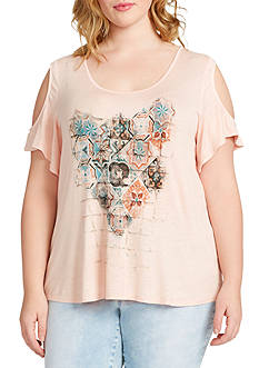 Jessica Simpson Plus Size Ummi Cold Shoulder Graphic Tee