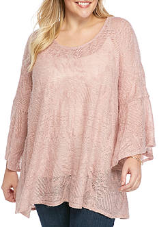 Jessica Simpson Plus Size Three Quarter Sleeve Split Back Sweater