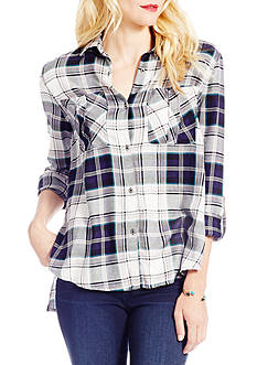 Jessica Simpson Dion Shirttail Roll Sleeve Shirt