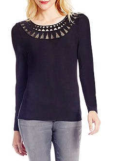 Jessica Simpson Yessenia Embroidered Rib Knit Top