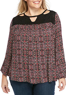 Jessica Simpson Plus Size Long Sleeve Peasant Top