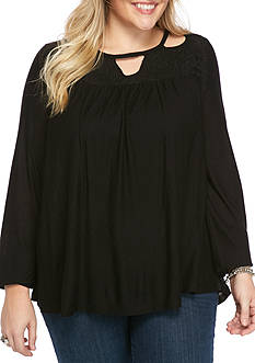 Jessica Simpson Plus Size Longsleeve Peasant Top