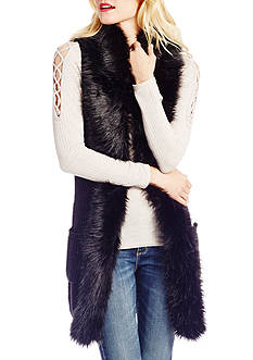 Jessica Simpson Powder Faux Fur Trim Vest